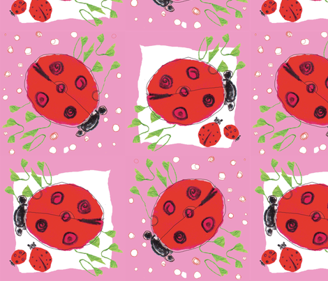 Ladybug love_pink  fabric by gigimoll on Spoonflower - custom fabric