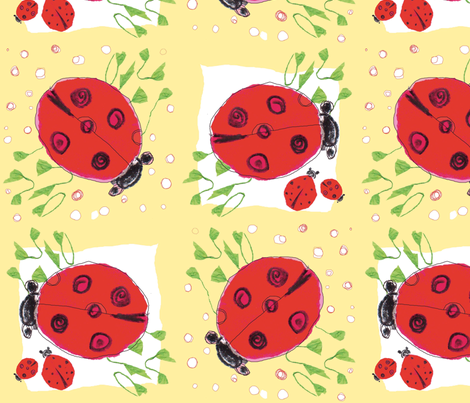 ladybug love_peach fabric by gigimoll on Spoonflower - custom fabric