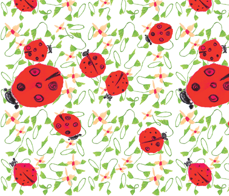 Ladybug dance white  fabric by gigimoll on Spoonflower - custom fabric