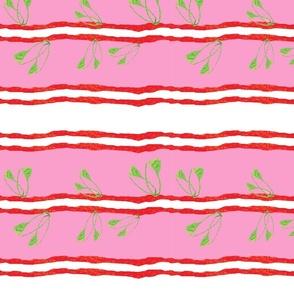 Collage leaf stripe _pink
