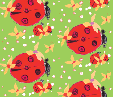 Ladybug love green  fabric by gigimoll on Spoonflower - custom fabric