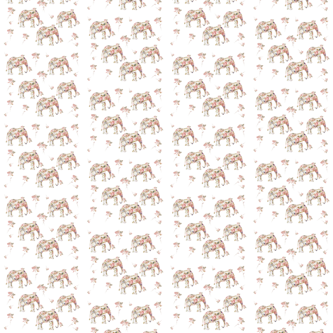 doll house collection, Elephant shabby chic fabric by karenharveycox on Spoonflower - custom fabric