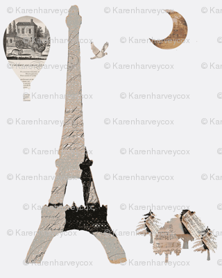 doll house collection, Eiffel Tower on white background