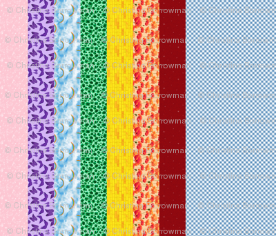Wizard of Oz - Gingham and Rainbow Stripes by JoyfulRose