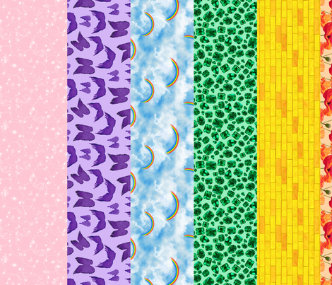 Wizard of Oz - Gingham and Rainbow Stripes by JoyfulRose fabric by joyfulrose on Spoonflower - custom fabric
