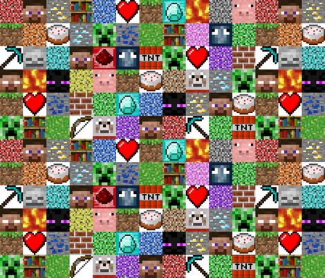 "Enhanced Minecraft Inspired 3"" Blocks Collage fabric by joyfulrose on Spoonflower - custom fabric"