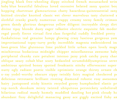Improv Adjectives - CHARTREUSE on WHITE fabric by happysewlucky on Spoonflower - custom fabric