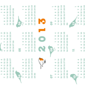 A redbreast among sparrows white (2013 calendar tea towel)