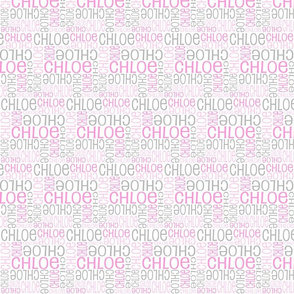 Personalised Name Fabric - SMALL Grey Pink