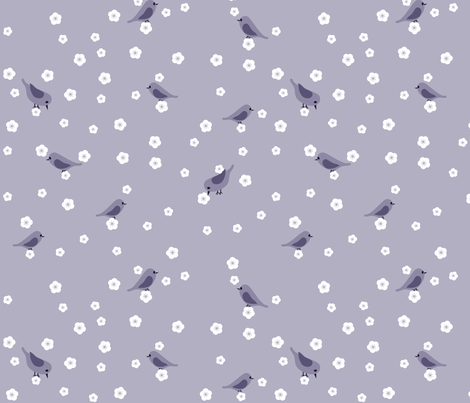 Bluebirds and Blossoms - Purple fabric by shelleymade on Spoonflower - custom fabric