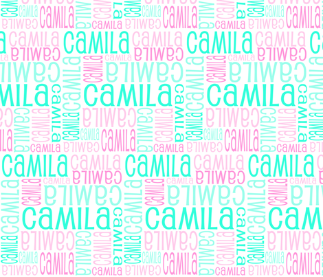 Personalised Name Fabric - Soft Greens Pinks fabric by shelleymade on Spoonflower - custom fabric