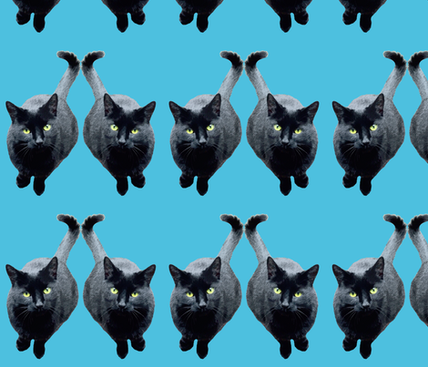 Midnight Cat fabric by nezumiworld on Spoonflower - custom fabric