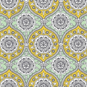 Yellow Teal Damask