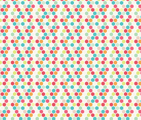 Multi Color Honeycomb fabric by allisonkreftdesigns on Spoonflower - custom fabric