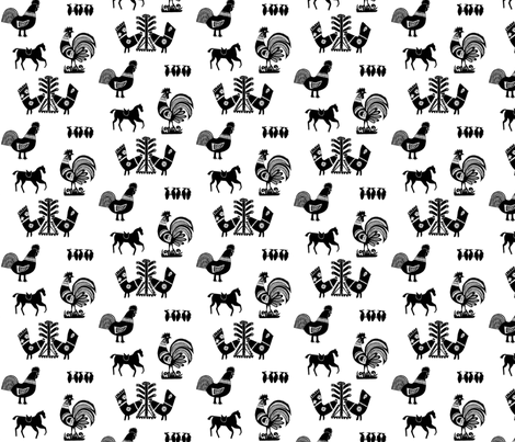 Folk Barnyard I fabric by mbsmith on Spoonflower - custom fabric