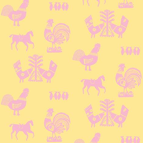 Folk Barnyard II fabric by mbsmith on Spoonflower - custom fabric