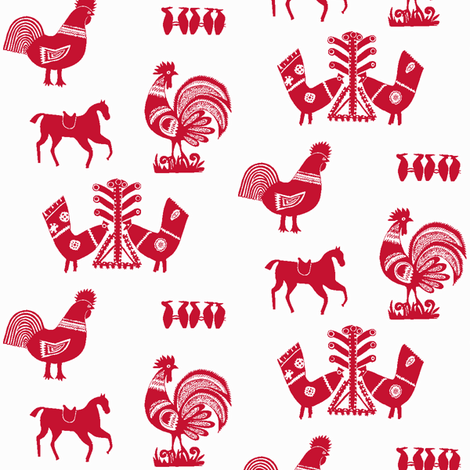 Folk Barnyard III fabric by mbsmith on Spoonflower - custom fabric