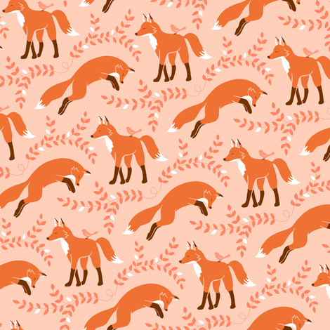 Socks the Fox - Peach fabric by pattysloniger on Spoonflower - custom fabric