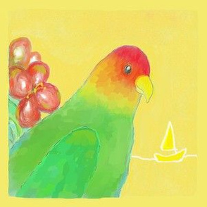Carolina Parakeet on Yellow