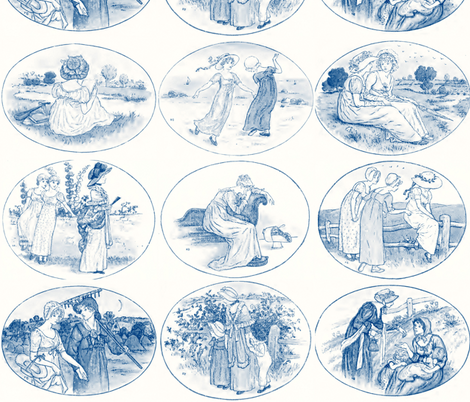 Kate Greenaway  ~ Language of the Flowers ~ Blue & White fabric by peacoquettedesigns on Spoonflower - custom fabric