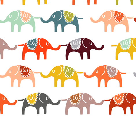elephant march wallpaper fabric by endemic on Spoonflower - custom fabric
