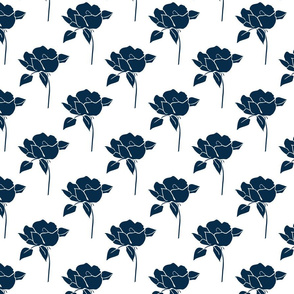 '50s Roses in navy on white