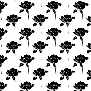 '50s Roses in black on white