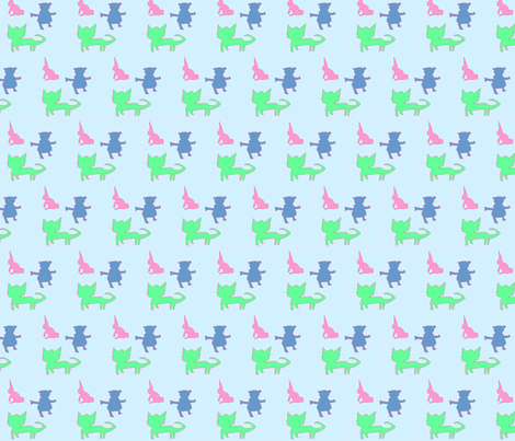 Kids Animals in Light Blue fabric by captiveinflorida on Spoonflower - custom fabric