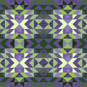 Patchwork cheater quilt -- in greens and lavenders