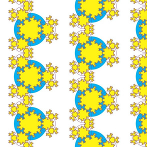 Fractal Snowflake yellow and blue half drop