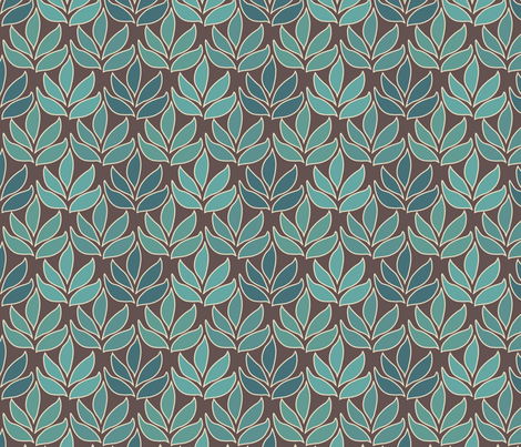 Leaf Texture Fabric new crop-bluegreen minagreen brown 1 small