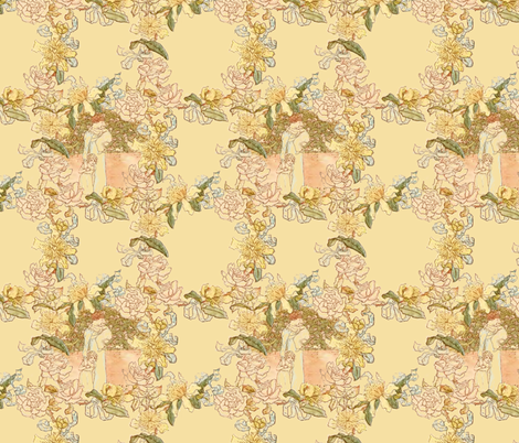 Kate Greenaway Floral Circles ~ My Mother ~ Language of the Flowers fabric by peacoquettedesigns on Spoonflower - custom fabric