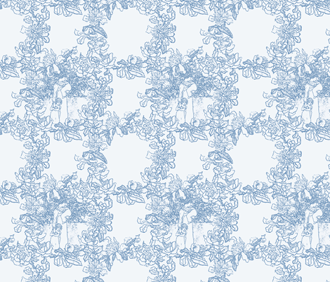 Kate Greenaway Floral Circles ~ Blue & White ~ Language of the Flowers fabric by peacoquettedesigns on Spoonflower - custom fabric