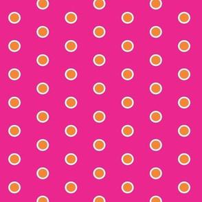 Frosty Mandarin Polka Dots on Hotpink
