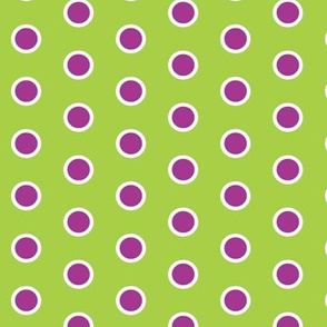Frosty Violet Polka Dot on Lime Green