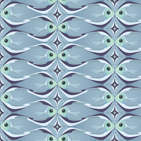 Fishkiss (blue) fabric by bippidiiboppidii on Spoonflower - custom fabric