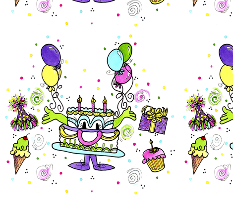 Happy Birthday Cake fabric by cyndilou on Spoonflower - custom fabric