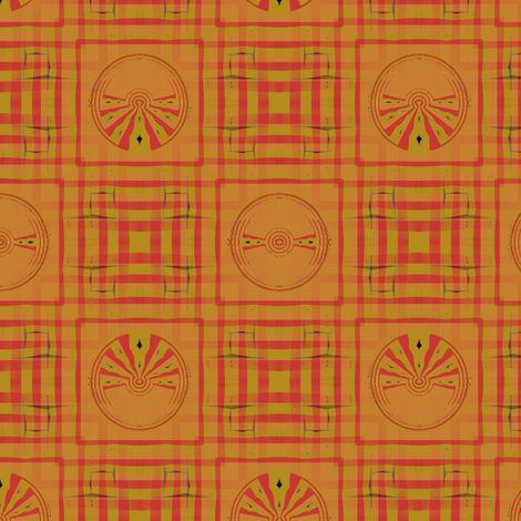 Gingham World (Red Medallion) fabric by david_kent_collections on Spoonflower - custom fabric