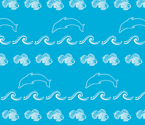 Jumping Dolphin fabric by painter13 on Spoonflower - custom fabric