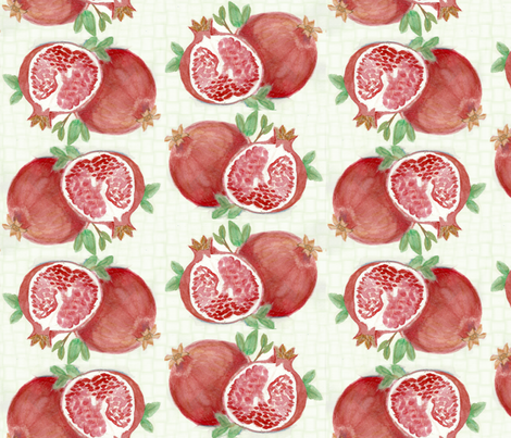 Green pomegranite fabric by rennata on Spoonflower - custom fabric