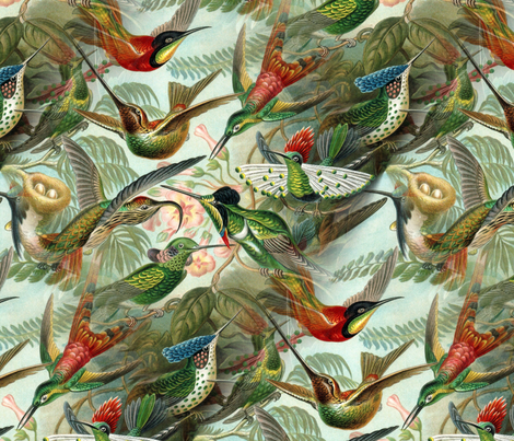 Vintage Hummingbird Pattern fabric by lyddiedoodles on Spoonflower - custom fabric