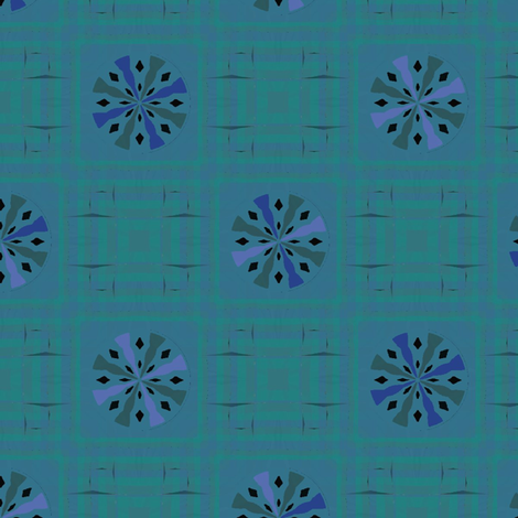 Gingham World (Blue Dahlia) fabric by david_kent_collections on Spoonflower - custom fabric