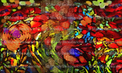 rich poppy tapestry look fabric