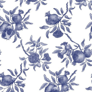 Pomegranate Trellis - Blue on White