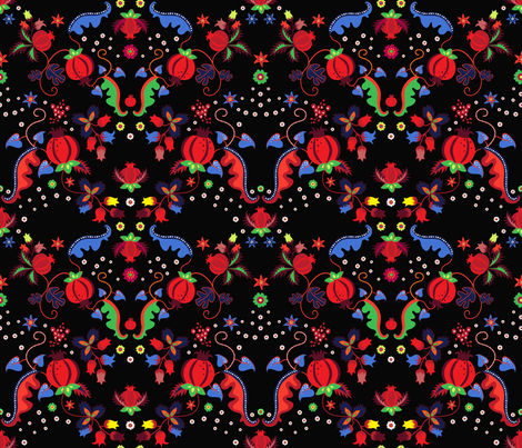 Floral Pomegranate fabric by kimsa on Spoonflower - custom fabric