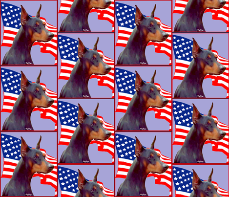Doberman Pinscher with Flag fabric by dogdaze_ on Spoonflower - custom fabric