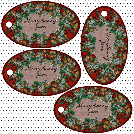 Strawberry Jam tags fabric by glanoramay on Spoonflower - custom fabric
