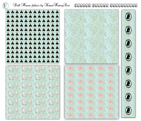 Doll House French Script collection fabric by karenharveycox on Spoonflower - custom fabric