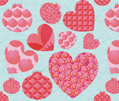 pomegrante hearts on duck egg paper fabric by creative_merritt on Spoonflower - custom fabric