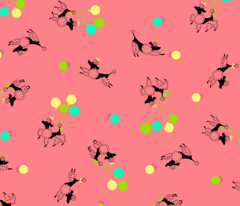 Poodles in the Park - Pink fabric by tuppencehapenny on Spoonflower - custom fabric